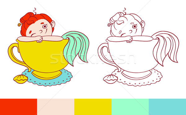 Funny mermaid in a cup of tea illustration.  Vector template for coloring. Activity for kids with ex Stock photo © vasilixa