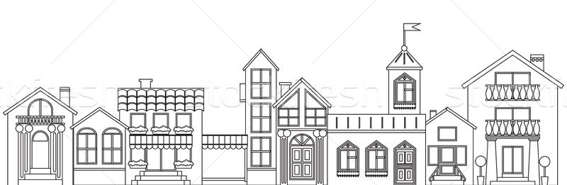 Old european town contour. Vector isolated houses outline illustration. Stock photo © vasilixa