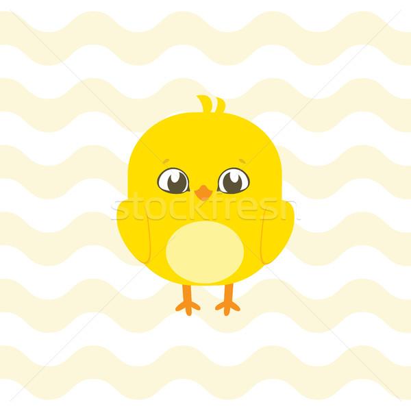 Baba zuhany illusztráció aranyos csirke meghívó Stock fotó © vasilixa
