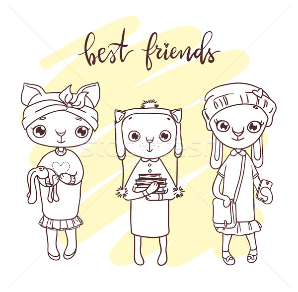 Cute pet friends illustration. Hand-drawn contour  Stock photo © vasilixa