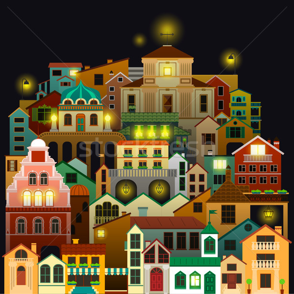 Colorful town buildings at night. Vector cityscape drawing on black background. Stock photo © vasilixa