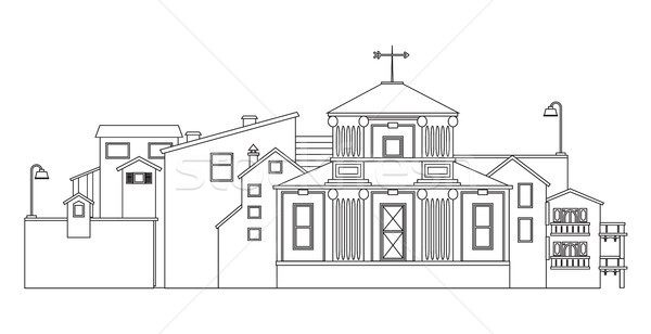 Urban landscape silhouette. Vector isolated contour of city buildings. Stock photo © vasilixa