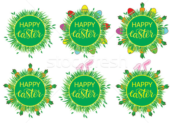 Páscoa etiqueta ovos cenouras conjunto adesivos Foto stock © vasilixa
