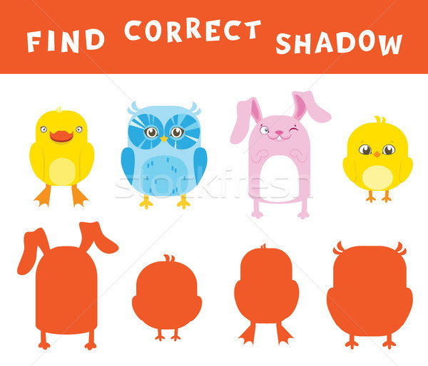 Find the correct shadow learning activity for children. Vector entertainment game with animals. Stock photo © vasilixa