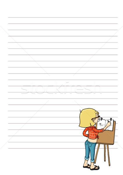 Stock fotó: Oldal · jegyzetek · rajzfilmfigura · minden · nap · heti · havi
