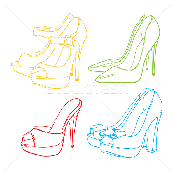Hand drawn contour colorful womens shoes on white background Stock photo © vasilixa