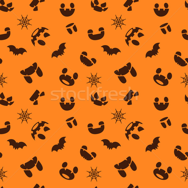 Pattern for Halloween. Seamless pattern scary faces, bats Stock photo © vasilixa