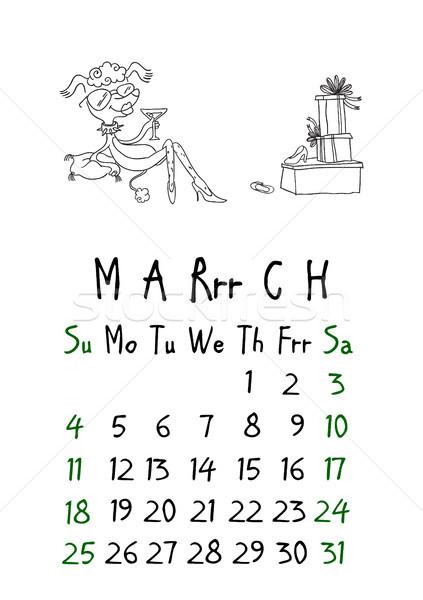 страница календаря собаки бумаги зеленый время Сток-фото © vasilixa
