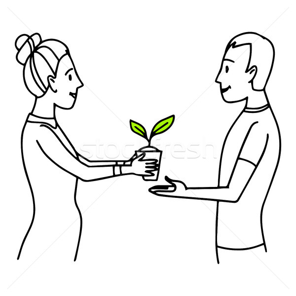 Woman giving a pot with plant to a man. Lifestyle situation illustration. Vector isolated outline sk Stock photo © vasilixa