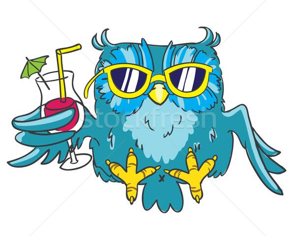 Azul coruja amarelo óculos de sol coquetel mão Foto stock © vasilixa