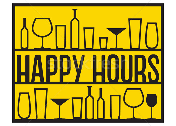 Black contour of bottles and glasses on the bar shelves. Vector silhouettes of drinks and happy hour Stock photo © vasilixa