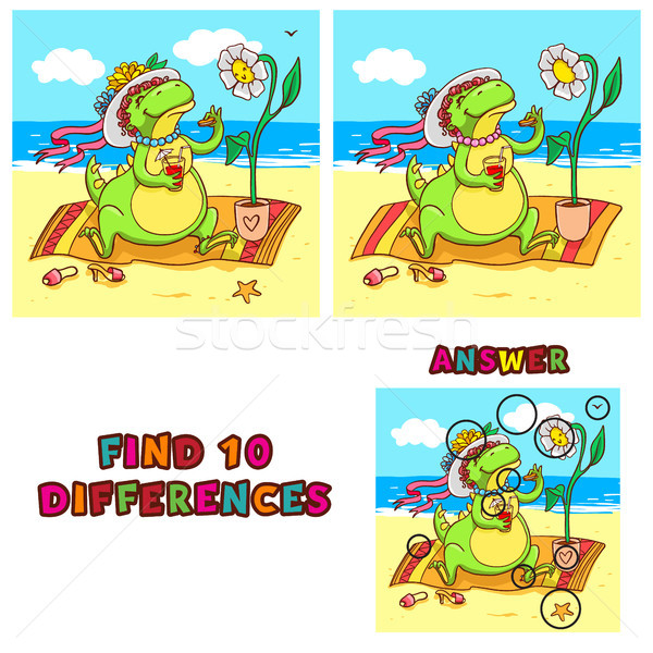 Find ten differences educational game for children. Vector colorful learning activity with crocodile Stock photo © vasilixa