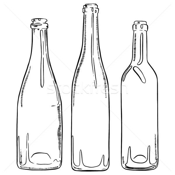 Set of sketch empty wine bottles. Vector hand drawn contour of bottles. Stock photo © vasilixa