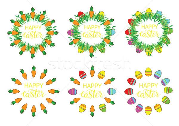 Pasqua etichetta uova carote set Foto d'archivio © vasilixa
