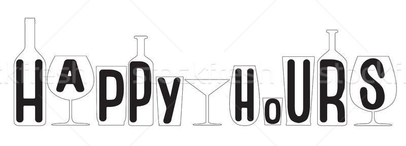 Happy hours. Transparent bottles and glasses silhouettes.Vector illustration. Stock photo © vasilixa