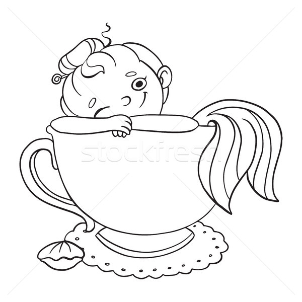 Funny cartoon mermaid in a cup of tea. Vector contour illustration for coloring. Stock photo © vasilixa