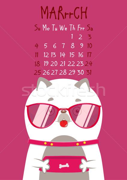 Simples digital cão calendário vetor inglês Foto stock © vasilixa
