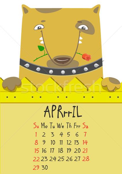 Simple digital cute dog calendar for April 2018.  Stock photo © vasilixa