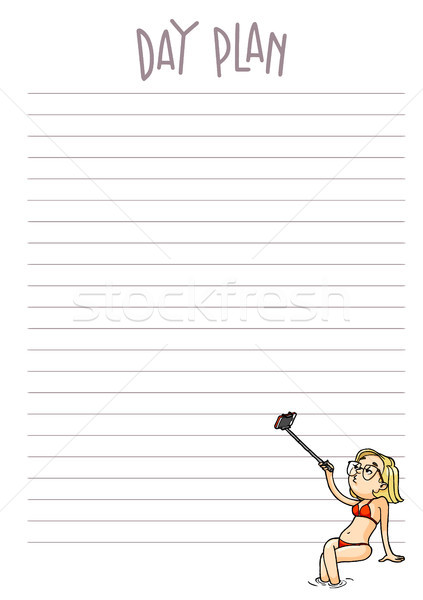 Day plan printable page. Vector organizer template with cartoon  Stock photo © vasilixa