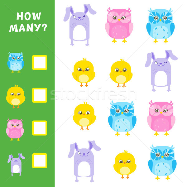 Educational mathematical game for kids. How many animals calculation. Vector illustration. Stock photo © vasilixa