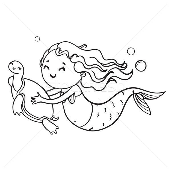Deniz Kizi Kaplumbaga Ornek Vektor Boyama Kitabi