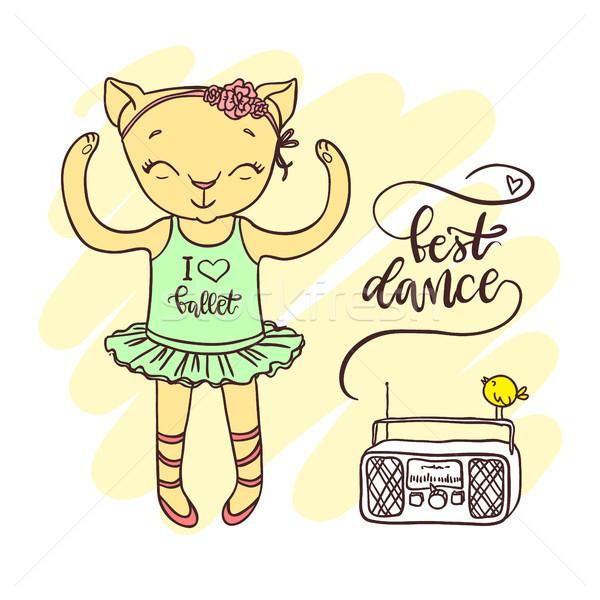 Little cute kitten in ballet tutu with radio. Inscription: best dance Stock photo © vasilixa