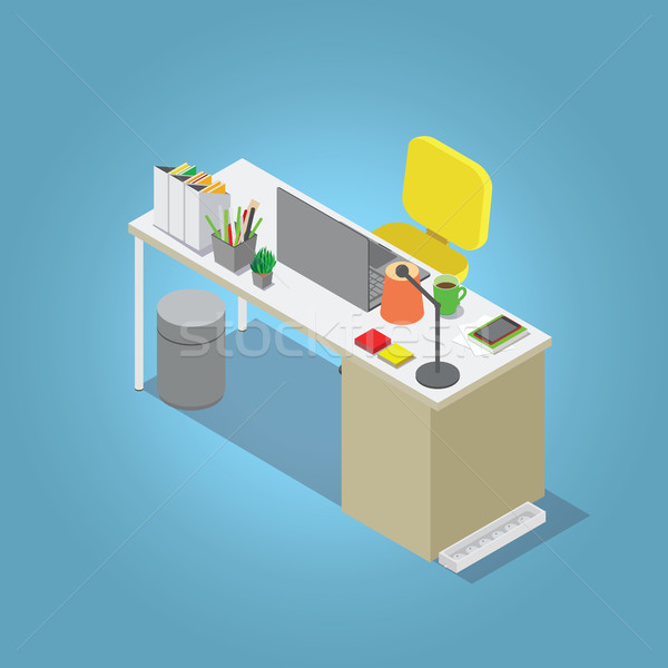 Isometric vector home office concept illustration. Workplace interior set: office table Stock photo © vasilixa