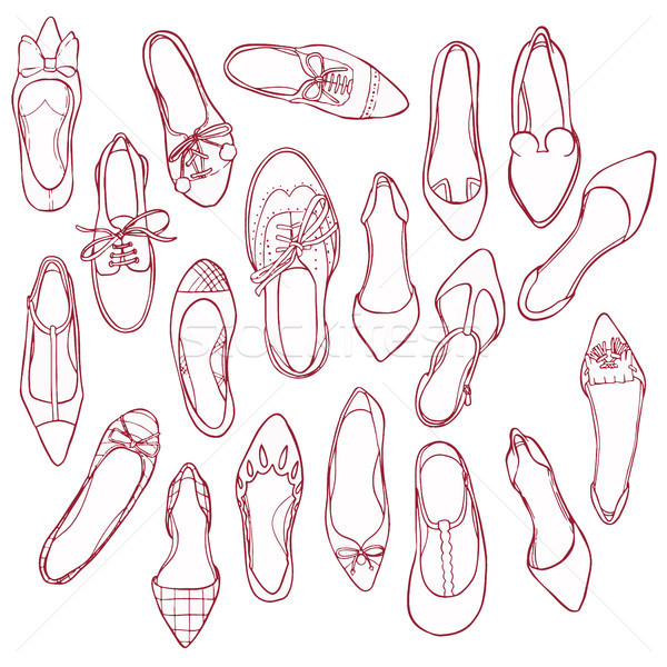 Woman shoes silhouettes pattern. Vector collection of outline footwear. Stock photo © vasilixa