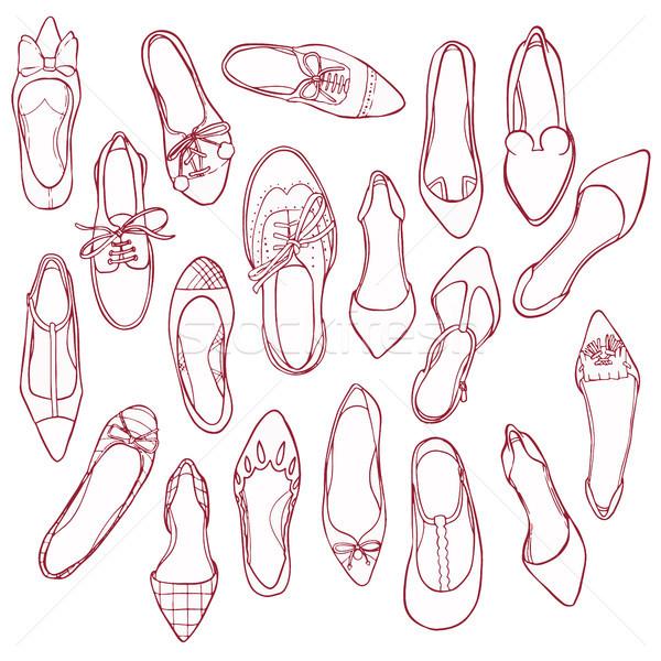 Donna scarpe sagome pattern vettore raccolta Foto d'archivio © vasilixa