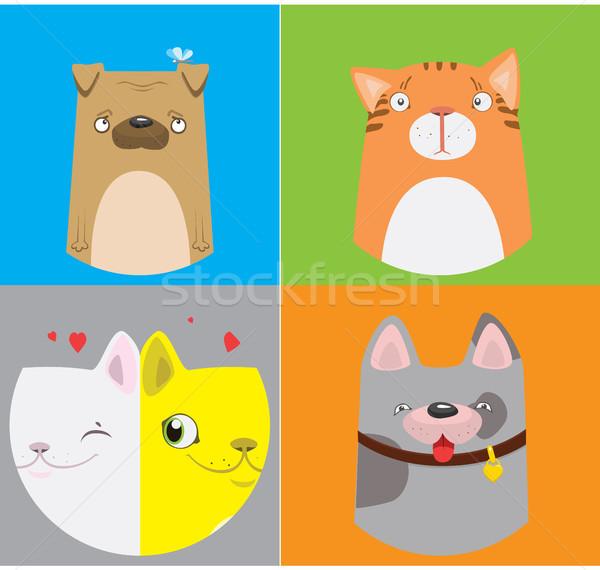 Engraçado cães gatos padrão vetor bonitinho Foto stock © vasilixa