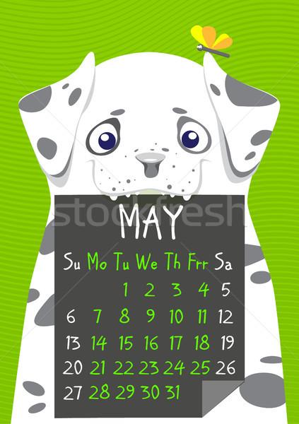 Stock fotó: Egyszerű · digitális · kutya · naptár · vektor · angol