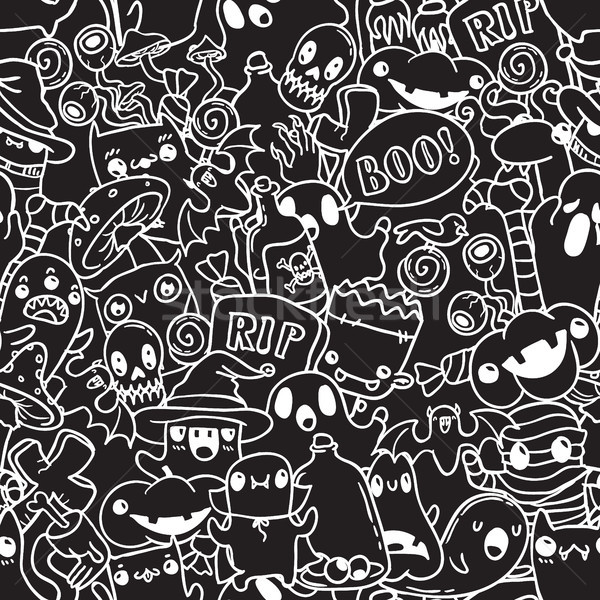 Halloween doodle bianco contorno nero vettore Foto d'archivio © vasilixa