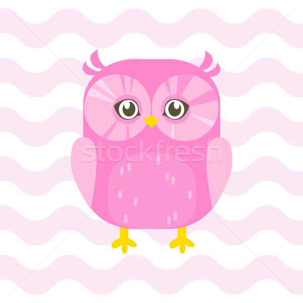 Baby doccia illustrazione cute rosa gufo Foto d'archivio © vasilixa