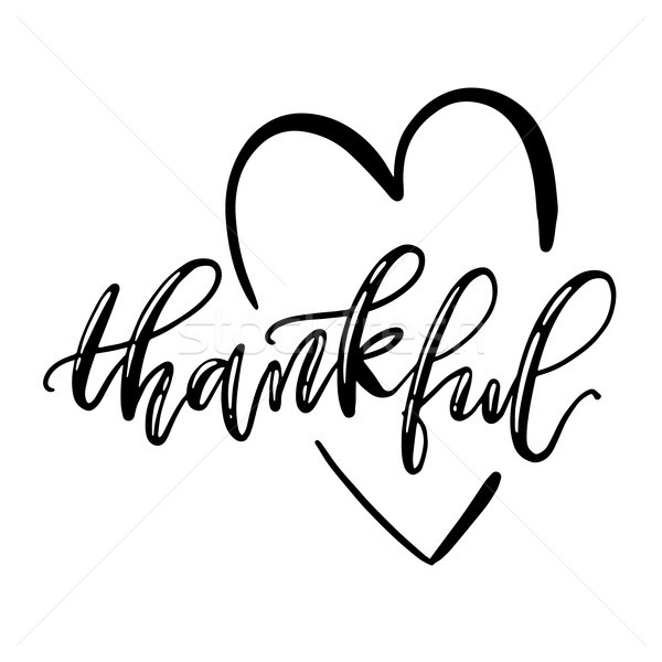 Thankful isolated lettering with heart symbol. Vector typography and sign. Stock photo © vasilixa