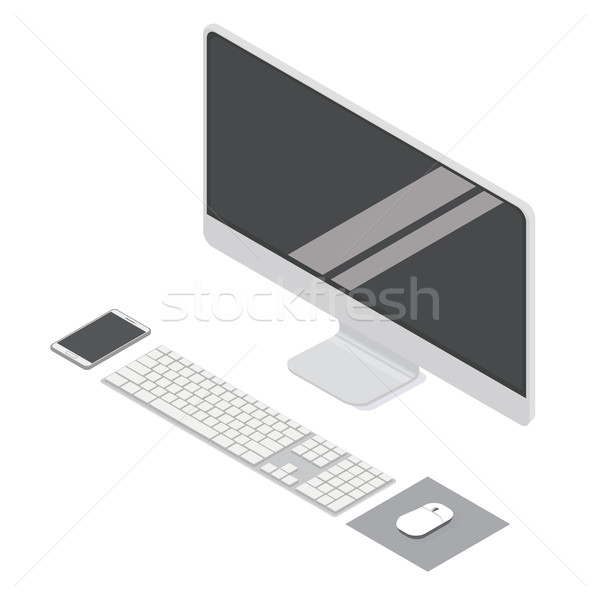 Moderno computador área de trabalho isométrica projeto Foto stock © vasilixa