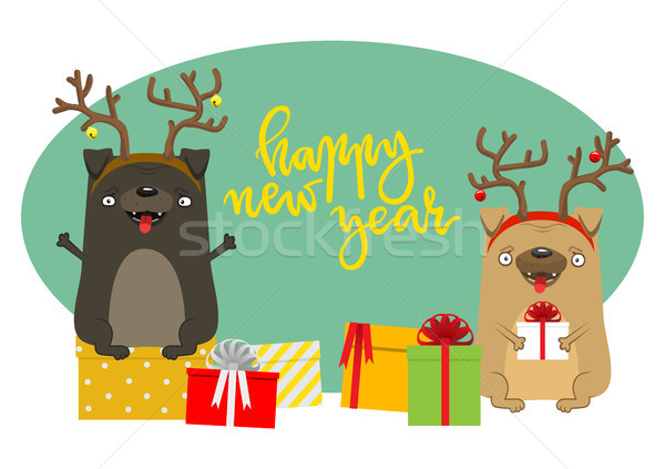 Feliz novo anos cães símbolo ano Foto stock © vasilixa