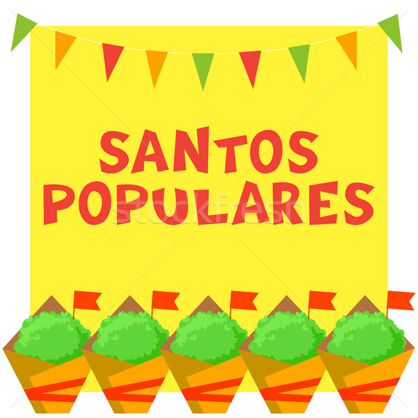 Santos Populares Portuguese festival card with manjerico plants and bunting garland. Stock photo © vasilixa