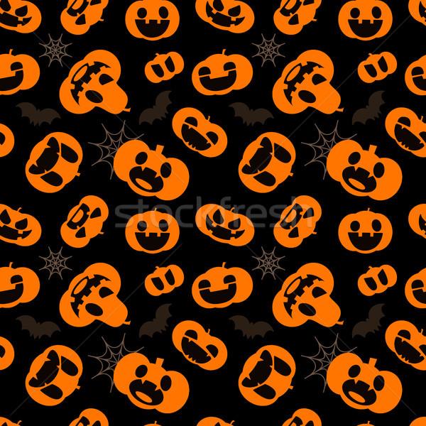 Pattern for Halloween. Seamless pattern with pumpkins, bats Stock photo © vasilixa