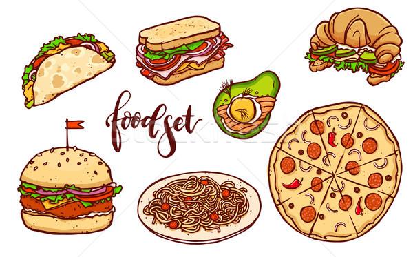 Diferente países fast-food conjunto vetor isolado Foto stock © vasilixa
