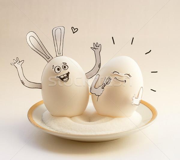 Due divertente uova piattino sorridere buona pasqua Foto d'archivio © vasilixa