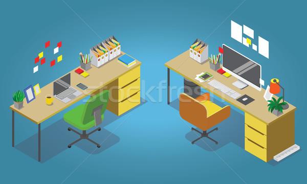 Stock fotó: Izometrikus · iroda · belső · szett · asztal · modern