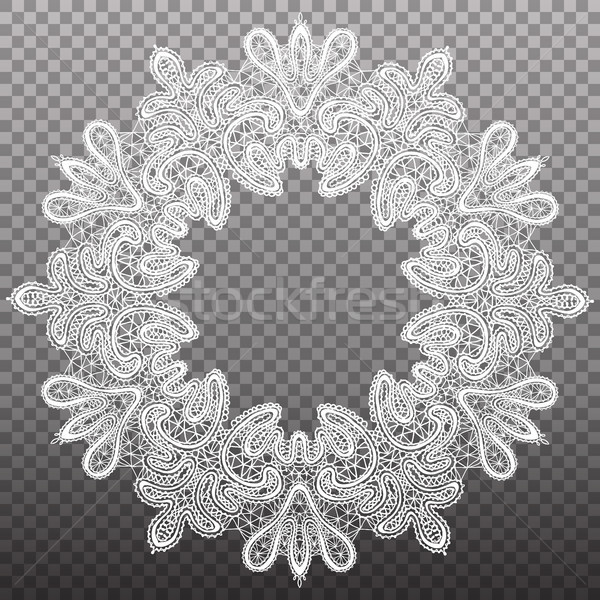 White round circled lace pattern. Vector isolated tapestry ornament. Stock photo © vasilixa