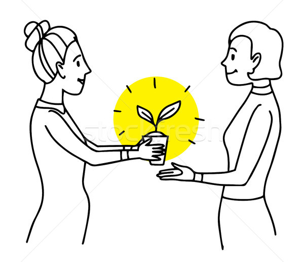 Woman giving a pot with plant to another woman. Lifestyle situation illustration. Vector isolated ou Stock photo © vasilixa