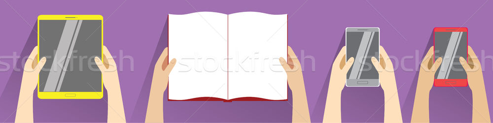 Hands holding open book, smartphones and tablet computer. Top view. Flat design modern vector  Stock photo © vasilixa