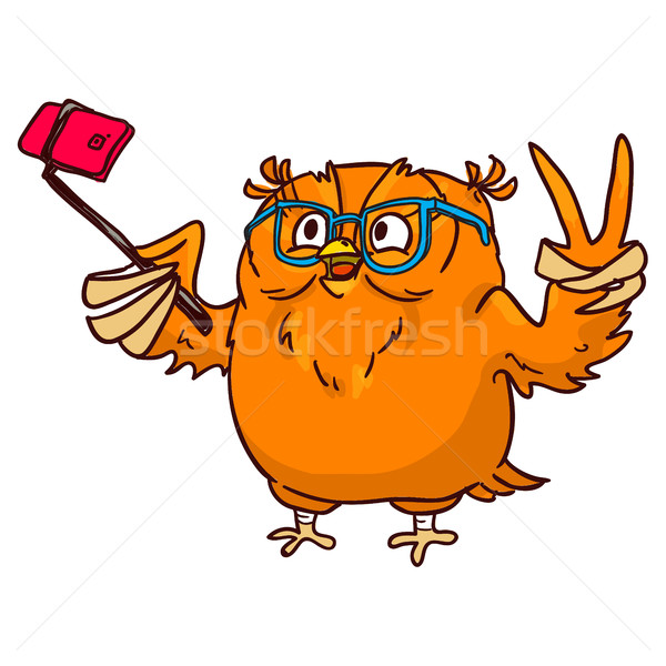 Owl hipster with glasses makes selfie on phone Stock photo © vasilixa