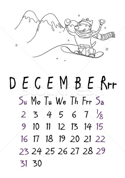 Diciembre página calendario perros negocios papel Foto stock © vasilixa