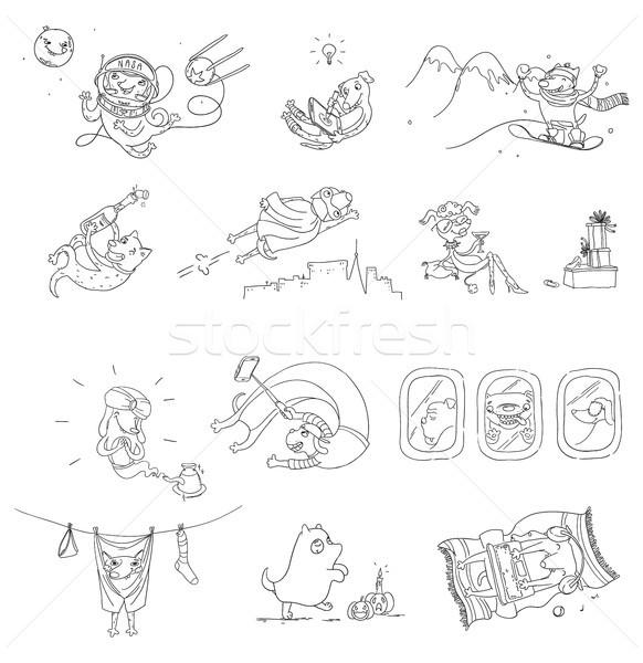 Engraçado conjunto bonitinho cão ilustrações Foto stock © vasilixa