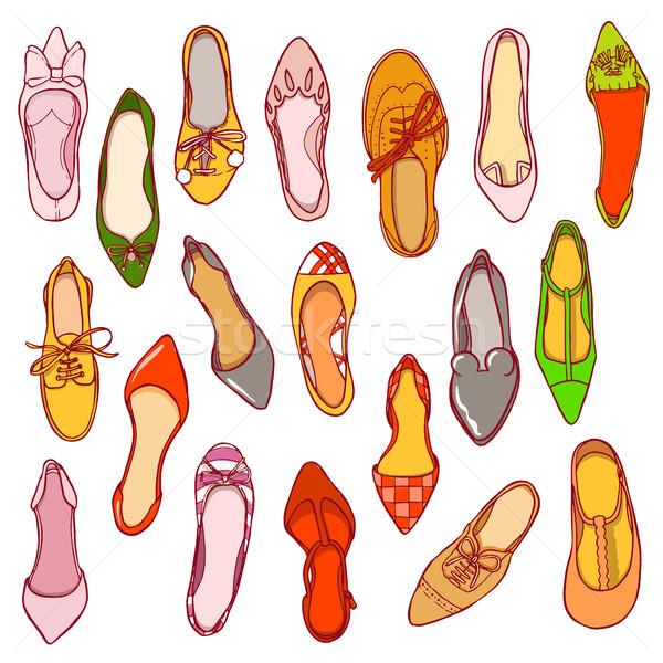 Woman shoes pattern. Vector texture of different footwear. Stock photo © vasilixa