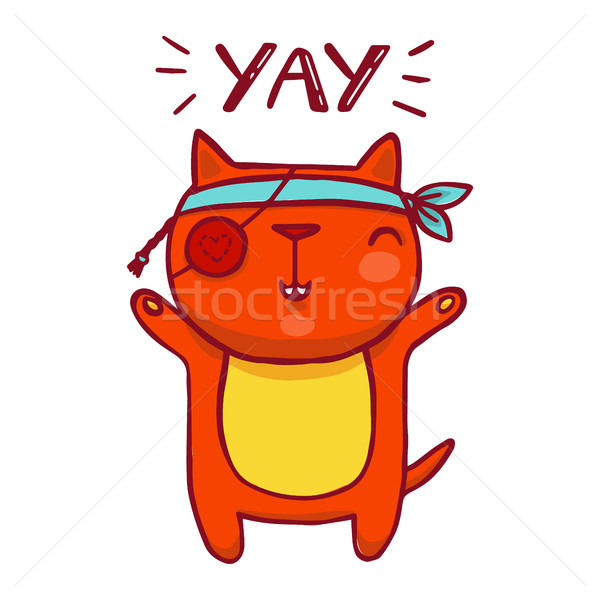 Funny cartoon pirate cat. Vector isolated illustration with handwritten inscription. Stock photo © vasilixa