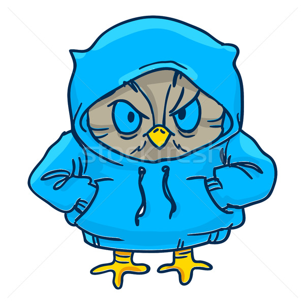 owl in blue hoodie  Line draw, hand-drawn contour on a white  Stock photo © vasilixa